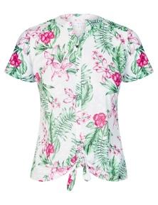 W.Lane Floral Tie Front Burnout Blouse