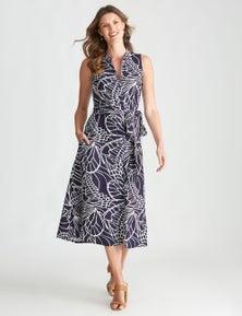 W.Lane Floral Linen Tie Shirt Dress