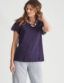 W.Lane Embroidered Lace Sleeve Top