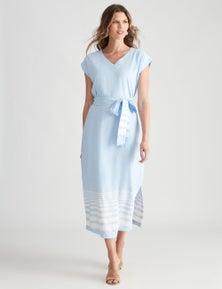 W.Lane Side Split Tie Stripe Dress