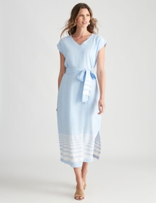 W.Lane Side Split Tie Stripe Dress