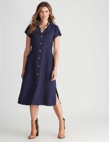 W.Lane Button Through Tie Pocket Dress