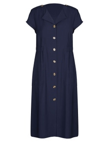 W.Lane Button Through Tie Pocket Dress