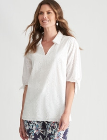 W.Lane Embroidered Tie Sleeve Top