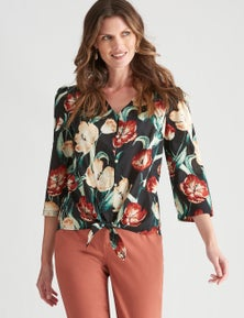 W.Lane Dobby Embroidered Tie Front Top