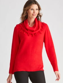 W.Lane Soft Textured Cowl Pullover