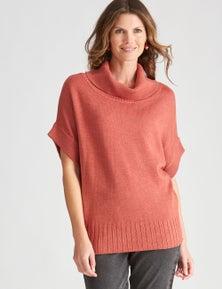 W.Lane Cowl Neck Short Sleeve Pullover