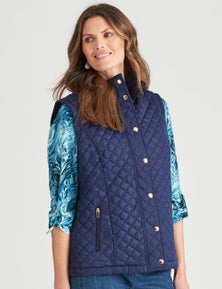 W.Lane Lacquer Print Quilted Puffer Vest