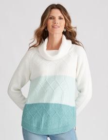W.Lane Colour Block Cowl Pullover