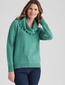 W.Lane Pom Pom Cowl Neck Pullover