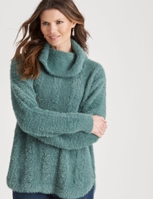 W.Lane Fluffy Cowl Neck Cable Pullover