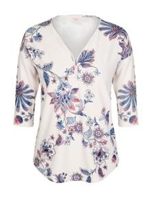 W.Lane Floral Print Zip Top