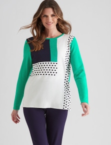W.Lane Abstract Colour Block Pullover