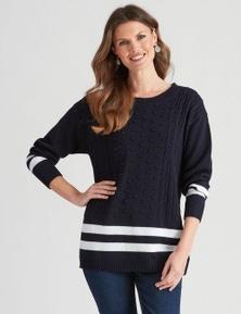 W.Lane Cotton Stripe Bobble Pullover