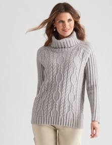 W.Lane Cowl Neck Cable Pullover