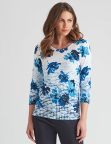 W.Lane Floral Placement Print Pullover