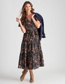 W.Lane Tiered V-Neck Wrap Dress