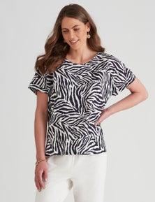 W.Lane Linen Animal Print Top