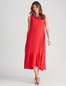 W.Lane Linen Panel Maxi Dress