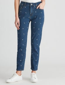 W.Lane Embroidered Anchor Ankle Jean