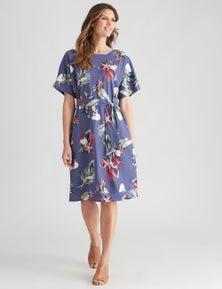 W.Lane Linen Floral Shift Dress
