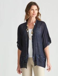 W.Lane Mesh Sequin Trim Kimono