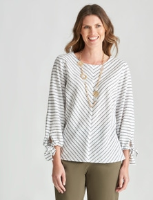 W.Lane Bow Sleeve Chevron Blouse