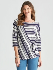 W.Lane Stripe Textured Side Tie Top