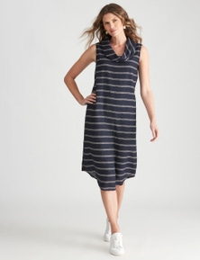 W.Lane Linen Stripe Cowl Dress