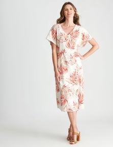 W.Lane Button Fern Printed Dress