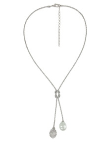 PEARL/PAVE BALL LARIAT
