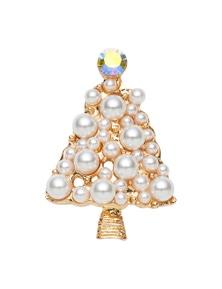 Xmas Tree Pearl Brooch